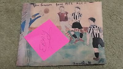 Beatles John Lennon Drawing Soccer Picture 1952 Reproduction w/Signature