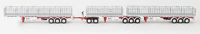 New Drake Maxitrans Freighter AB Triple Road Train Trailers Set Red & White 1:50