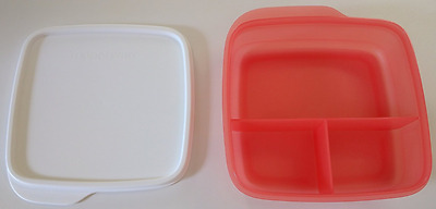 Tupperware Lunch-It Divided Square Snack Storage Coral Crush New