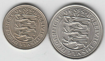 Guernsey 10p, 5p pence coins 1968 uncirculated
