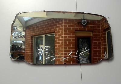 Vintage ART Deco BEVELLED Etched MIRROR Made in SA Essances QZZQ Adelaide