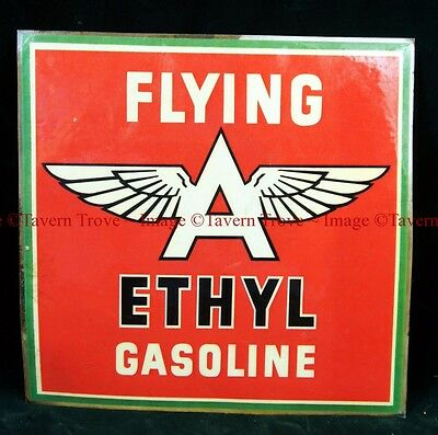 Rare Original UNUSED 1950s FLYING A ETHYL gas pump 8½ inch square vinyl decal