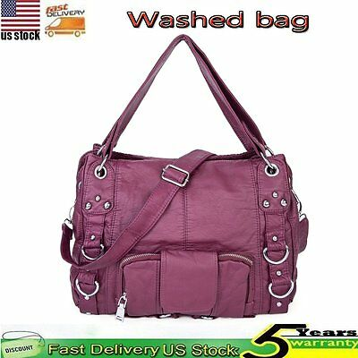 Women Handbag Soft Washed Vegan Leather Shoulder Bag Messenger Crossbody Tote