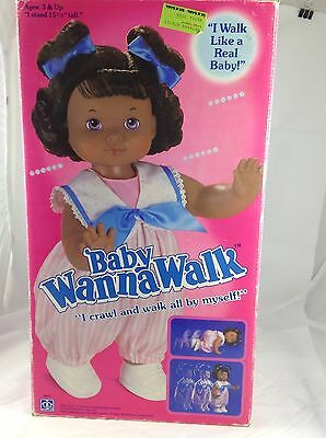 Baby Wanna Walk Doll 1990 Hasbro Vintage, Looks New, African American Doll