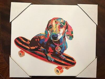 """NEW Dachshund DOXIE Wiener Dog Graphic Wall ART PRINT on Wrapped CANVAS 12"""" x 10"""