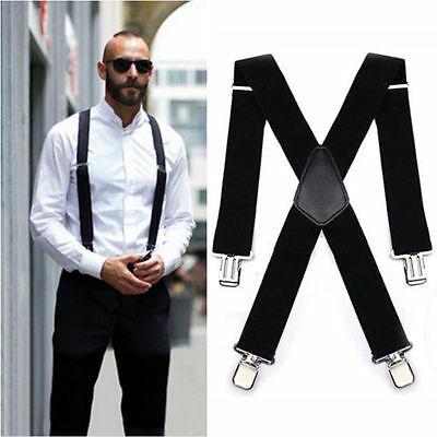MEN'S 40mm Extra Wide Adjustable Elastic Mens Suspenders Clip-On Braces Trouser
