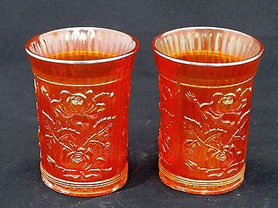 Two Carnival Glass Tumblers Imperial Lustre Rose
