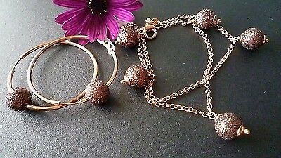 925 Solid Sterling Silver  Set Bracelet & Earrings, Made In Italy Exclusive