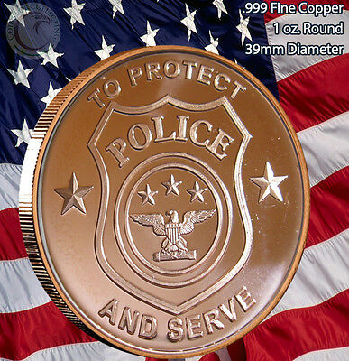 Police - To Protect and Serve 1 oz .999 Copper Round