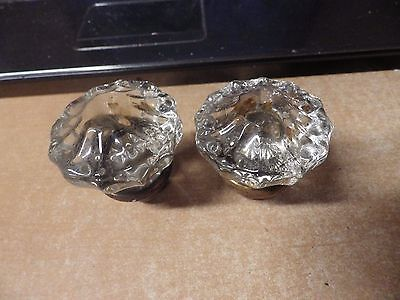 Lot Of 2 Matching Antique Crystal Glass Door Knobs Brass Bases No Breaks