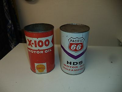 Shell and Pacific 66 motor oil tin can