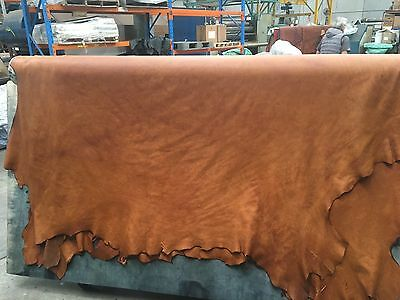 Tan Antique Vintage Aged Upholstery Cowhide Full Grain