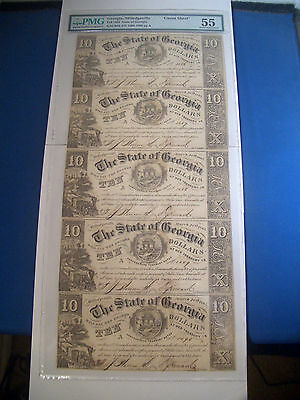 1865 $10 GACR33 * UNCUT SHEET of 5 * PMG About Uncirculated 55 GEORGIA Currency