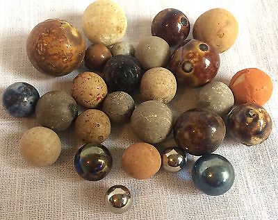 Vintage Lot of 26 Clay Glazed Metallic Steel Marbles