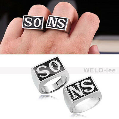 """NEW HOT Alloy Sons of Anarchy season RING 1 SET of 2 psc """"SONS"""" Words"""