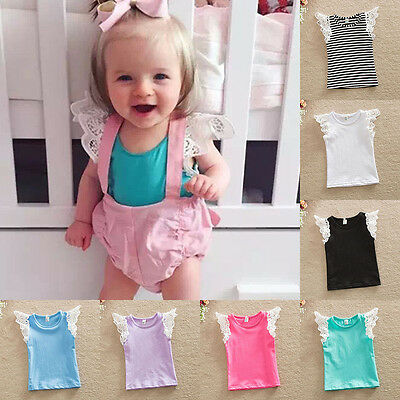 Casual Baby Toddler Kids Lace Wing Sleeve Shirt Blouse Cotton Tops T-shirt Vest
