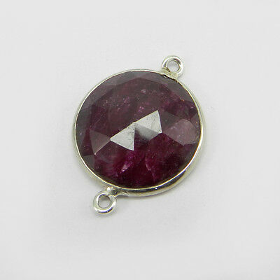 Ruby Corundum Gemstone 925 Sterling Silver Double Loop Connector Charms ER8419