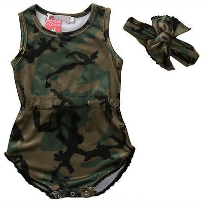 Toddler Baby Girls Camouflage Romper Jumpsuit Bodysuit Outfit Clothes + Headband