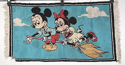 Vintage Mickey Mouse Rug - Mickey and Minnie on a Broom - Walt Disney 40x21
