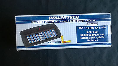 NEW! Powertech MB-3512 AA/AAA Battery 10 Slot Ni-CAD Ni-Mh Smart Charger