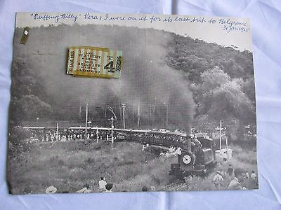 Photo Image puffing Billy Last Trip to Belgrave plus Original Train Ticket