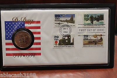 Fleetwood 1994 D-Day in America First Day Issue & Commemorative Coin in Cover