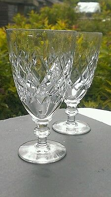 WEBB CORBETT Crystal - ROLLESTON Cut - Gin and Tonic glasses c1964 13cm tall