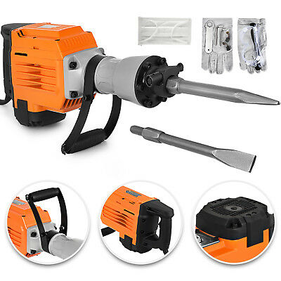 3600W Electric Demolition Jack Hammer Punch Ground Point&Flat 2 Chisel Bits