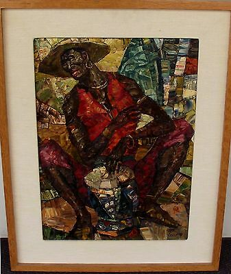 """GEORGE RUSSIN, THE BONGO PLAYER, C. 1970'S, OIL ON BOARD, 21"""" x 15"""", SIGNED"""