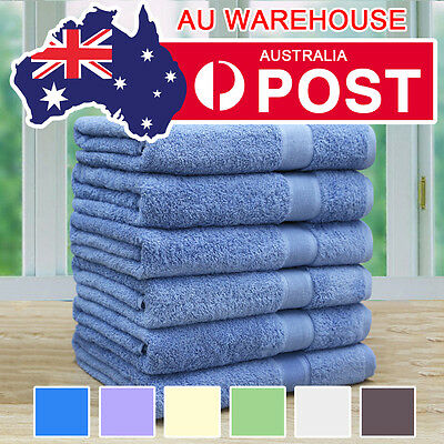 6 Pack Soft Egyptian Cotton Bath Towels 70x140cm 7 Colours Option Combed Quality