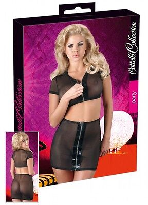 Cottelli Collection Party Top + Mini Rock Gr. S Schwarz Transparent |52