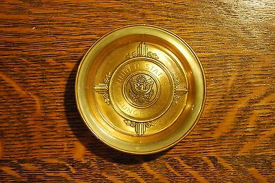 Vintage US Congress Brass Glass Ashtray Metal Spin-Craft Gold Seal Attleboro MA