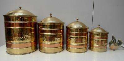 RARE Set of VINTAGE Copper & BRASS Kitchen CANISTERS Tea COFFEE etc QZZQ Adelaid
