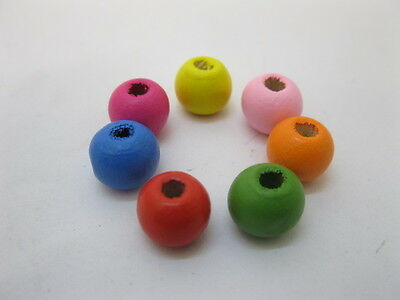 1000Pcs Round Wooden Beads 10mm Mixed Color
