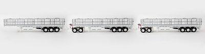 New Drake Maxitrans Freighter Triple Road Train Trailers Set White 1:50