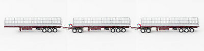 New Drake Maxitrans Freighter Triple Road Train Trailers Set Burgundy 1:50