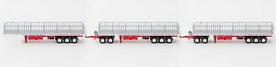 New Drake Maxitrans Freighter Triple Road Train Trailers Set Red & White 1:50