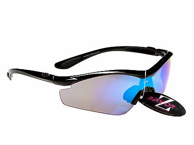 RayZor Uv400 Black Running Sports Wrap Sunglasses with Blue Mirrored Lens RRP£49