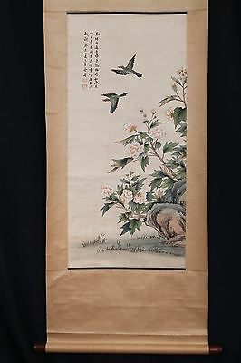 Old Handmade Chinese Scroll Hand Painting Flowers Birds Mark PP492