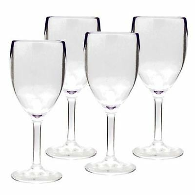 Royal Pack of 4 Clear Acrylic Wine Glasses For Caravan Motorhome Picnic Wedding