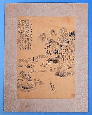 Rare Large Old Chinese Paper Hand Painting Landscape Marks PP415