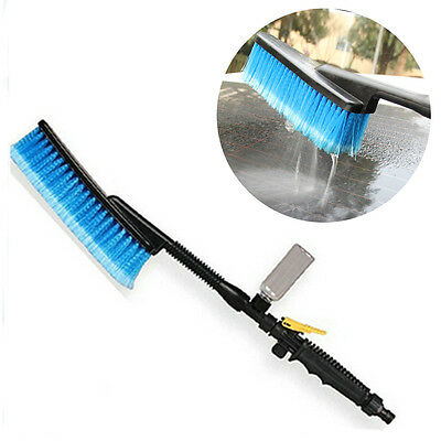 Blue Car Wash Brush Water Spray Cleaning Tool Soft Bristle Switch Foam Bottle RF