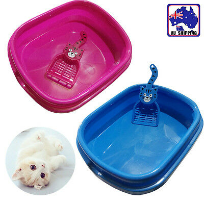 Cat Pet Toilet Tray Litter Plastic Box Portable Rose Blue with Scoop PTOI570