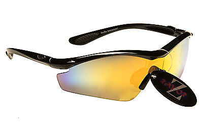 RayZor Uv400 Black Running Sports Wrap Sunglasses with Gold Mirrored Lens RRP£49