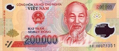 Vietnamese Dong Circulated Polymer Currency 200,000 Vnd Banknote - 200000 Note