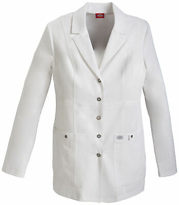 """Dickies Xtreme Stretch 82400 Women's 28"""" Snap Front Lab Coat Scrubs"""