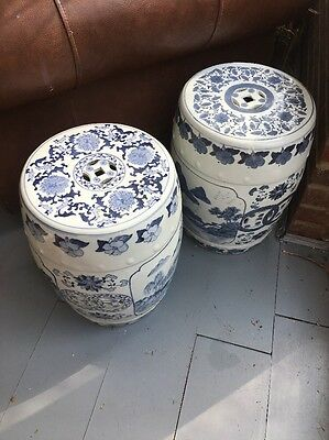 Chinese Blue And White Large Plant Pot / Display Stands X 2