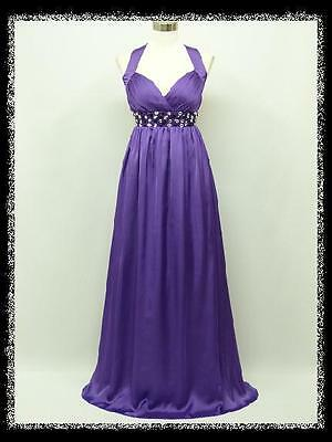 dress190 PURPLE CHIFFON HALTER LONG GLAMOUR MAXI PARTY PROM EVENING GOWN 8-10