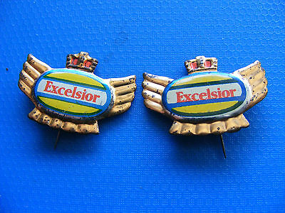 Lot of 2 EXCELSIOR  motorcycle very old lapel,tinlitho/tinplate  pin badges
