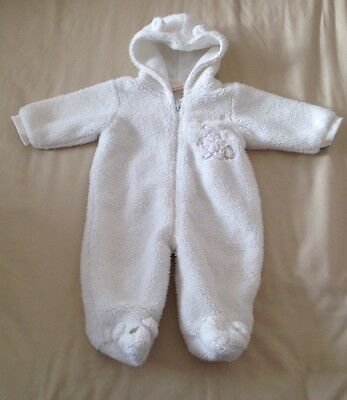 Baby Girls / Boys Fluffy All In One / Snowsuit 0-3 Months